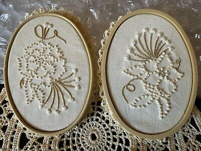 Vintage Hand Embroidered And Crocheted Wall Art