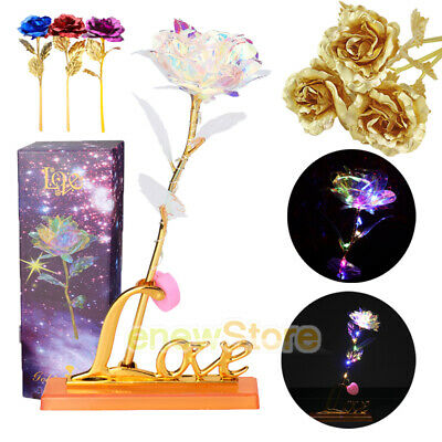 Mothers Day 24K Gold Foil Rose Flower LED Luminous Galaxy Valentines Day Gifts