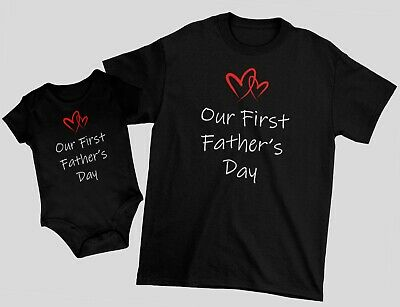 Our First Fathers Day Matching Set Tee T-shirt Baby Bodysuit Gift For Dad Daddy