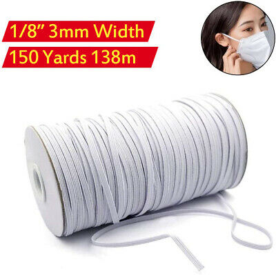 200 Yards 3mm 18 Elastic Band Rope Braided Knit Cord for DIY Sewing Face Mask