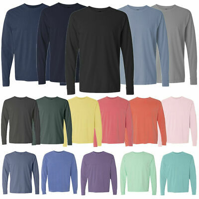 Comfort Colors 6014 3 PACK of Garment Dyed Long Sleeve Crew Neck T Shirts WOW