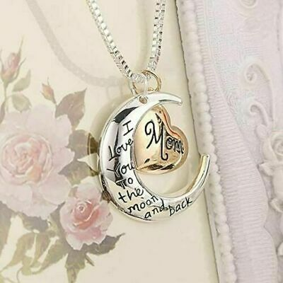 I Love You To The Moon - Back Mom Necklace - Pendant Birthday Mothers Day Gift