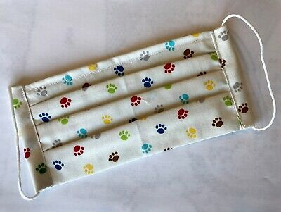 Face Mask Pleated Handmade USA Cotton Elastic Straps Paw prints multicolor