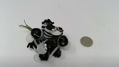 12 Vintage Chenille White - Black Bumble Bees Wired Floral Crafts Corsage Picks