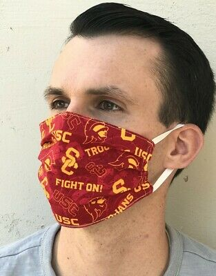 Cloth Face Mask USC Trogans Print Cotton Lined Pleated   100 Handmade USA