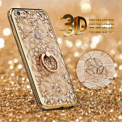 For iPhone 11 Pro SE 2020 XR 12 Finger Ring Bling with Stand Soft TPU Case Cover