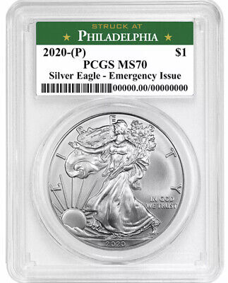 2020 P 1 American Silver Eagle PCGS MS70 Emergency Issue Philadelphia Label