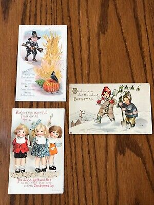 Antique Vintage Christmas  and Thanksgiving Post Cards  Lot of 3 - Early 1900s
