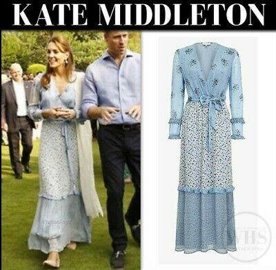 Ghost Avery Blue Floral Maxi Dress As Seen On ASO Kate Middleton Size S NWT
