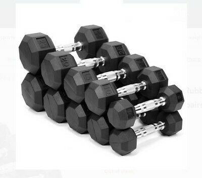 10 15 20 25 30 35 OR 40 WEIDER RUBBER COATED HEX DUMBBELLS  WEIGHTS