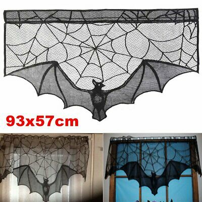 Black Lace Bat Halloween Props Party Scary Indoor Decorations Window Curtains US