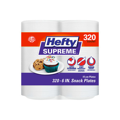 Hefty Supreme Foam Plates Party Luncheon White 6 320 count
