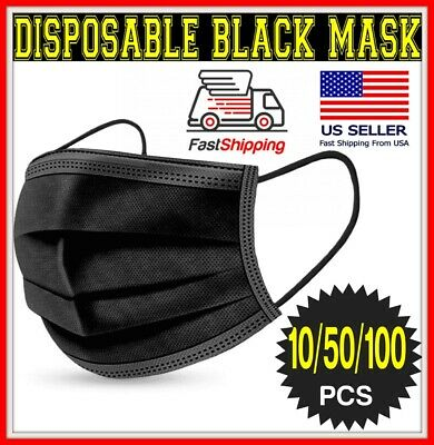 1050100 BLACK 3-Ply Face Mask Disposable Dental non Medical Surgical Cover