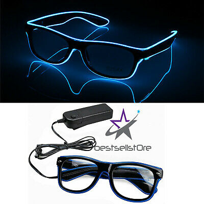 Glow Glasses Light Up El Wire Glowing Party Rave Glow-in-The Dark LED glasses