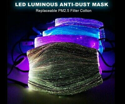 7 Colorful Lights LED illuminated Face Mask with Filter Pad - US