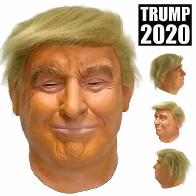 Realistic Donald Trump Full Head Latex Mask Presidential Human Face Male Cosplay
