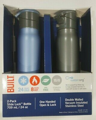 2-Pack Built Double Walled Vacuum Insulated Stainless Steel Water Bottle 24 oz