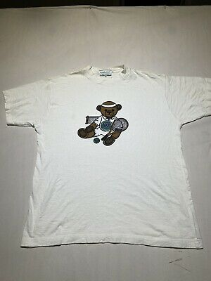 Vintage Look Wimbledon Tennis The Championships Bear Print White T Shirt L A34