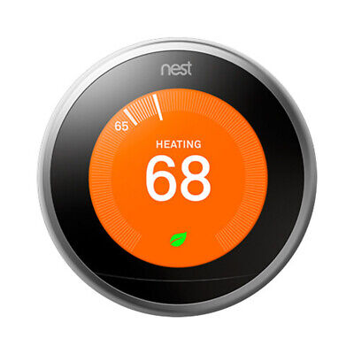 Google Nest Thermostat Smart Learning 3rd Generation Stainless Steel -T3007ES