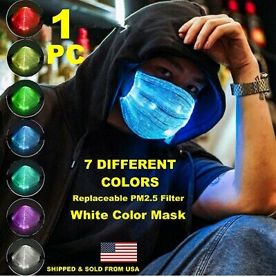 Fiber LED Color Glowing Face Mask USB Rechargeable with Replaceable PM2-5 filter
