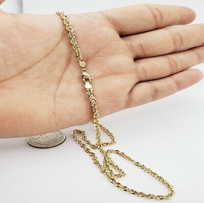 10K Solid Yellow Gold Necklace Gold Rope Chain 2-5mm 16 18 20 22 24 26 30