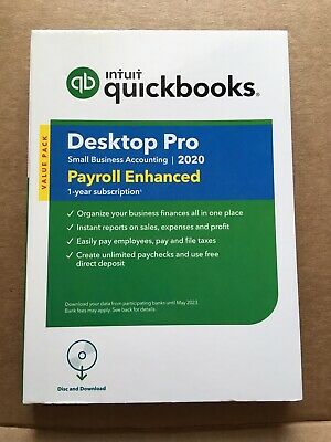 Intuit QuickBooks Desktop Pro 2020 With 1 Year Enhanced Payroll subscription
