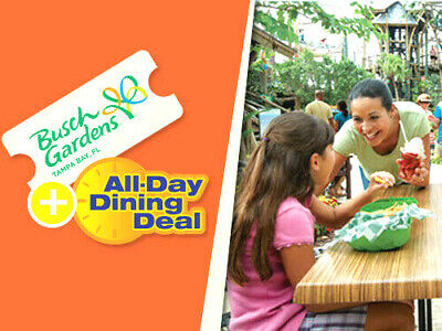 BUSCH GARDENS TAMPA TICKET - ALL DAY DINE SAVINGS PROMO DISCOUNT INFO TOOL