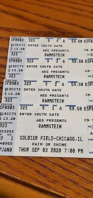 4 Rammstein Tickets SEC 323 ROW 9 - Chicago IL - Soldier Field - Sept- 1st 2021