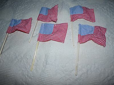 American Flags Patriotic Fourth of July Handmade Lot of 5 Blue Red Check Fabric