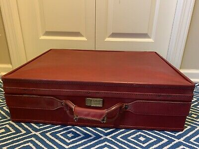 Vintage Hartmann Red Leather Suitcase with key 24x18x7-5