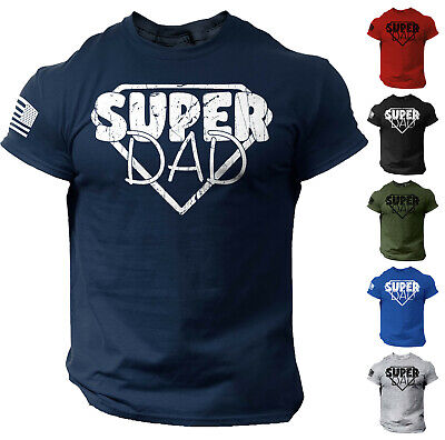 Mens Fathers Day T shirt Funny Dad Gift Super Dad Tee