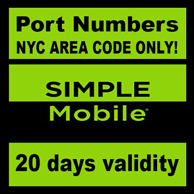 Simple Mobile Numbers to Port NYC Area Code ONLY  SIMPLE MOBILE NY area code