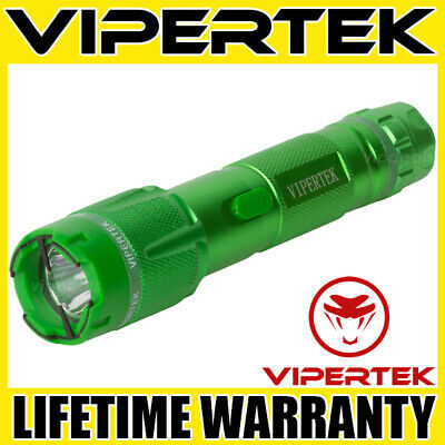 VIPERTEK Stun Gun VTS-T03 GREEN 500 BV Metal Rechargeable LED Flashlight