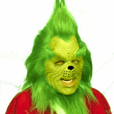 Dr Seuss The Grinch Who Stole Christmas Halloween Mask Costume Latex Realistic