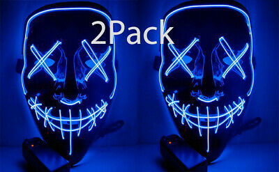 2Pack Halloween Clubbing Light Up LED Mask Costume Rave Cosplay Party  3 Modes