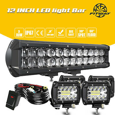 1214inch LED Light Bar Work SPOT FLOOD Combo Driving Truck ATV- Wiring For Jeep