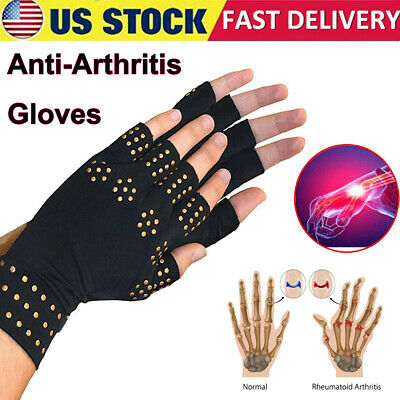 2pcs Copper Magnetic Arthritis Compression Gloves Hand Support Joint Pain Relief