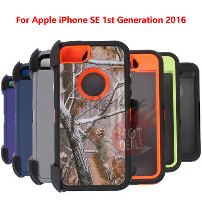 For Apple iPhone SE 1st Generation 2017 Rugged Armed Shockproof With Clip Case C
