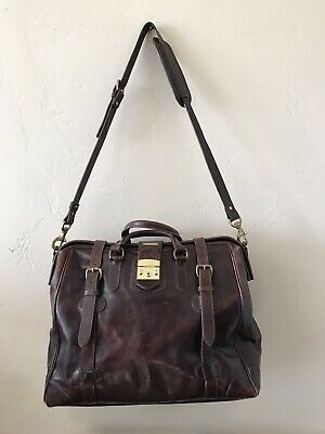 Vintage Mulholland Brothers Duffel Bag Overnighter Luggage Saddle brown Leather