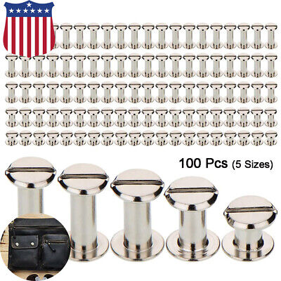 100 Pack Chicago Screws Metal Posts Nail Rivet Button Leather Craft 5 Sizes
