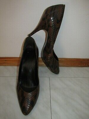 Vintage Made in Italy Echtleder High Heels Pumps Gr. 39 Uk 6 Schlangen Optik