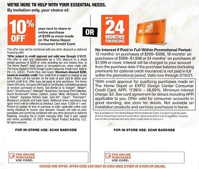 Genuine Home Depot coupon 10 off or 24 Months No Interest Online- In Store 310