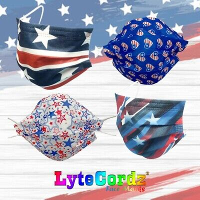 Face Mask 4th Fourth of July American Patriotic Disposable Surgical 3 Ply
