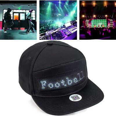 Animated Bluetooth Led Sign Hat Hip Hop Street Dance Party Parade Sunscreen USA