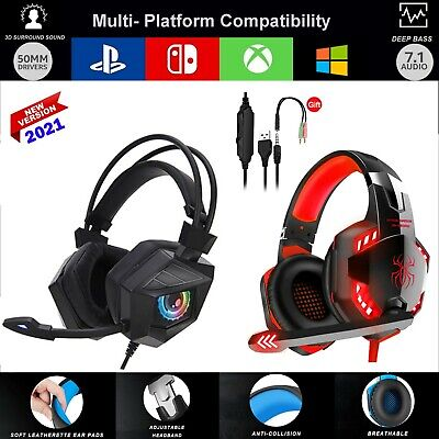 Pro Gaming Headset W Mic XBOX One PS4 PS5 PC Headphones Microphone Bass