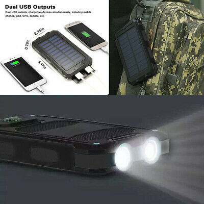 2000000mAh Solar Power Bank LED 2 USB Backup Battery Charger For iPhone samsung