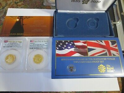 2020 Mayflower 400th Anniversary 2-Coin Gold Proof Set PCGS PR70DCAM FDOI.