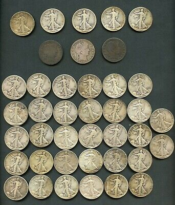 (40) U.S 90% Silver Barber & Walking Liberty 50c Halves Lot-a few better dates