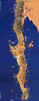 Poster Map of Baja California Mexico 11x28 inches