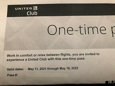 United Club One-Time Lounge Pass Expire 05182022